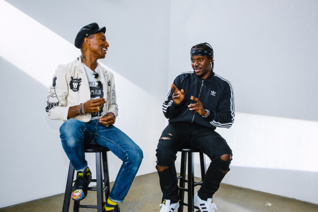 Pharrell Williams and Pusha T backstage at Adidas Originals Supe