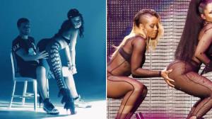 Agarran la cola de Nicki Minaj...